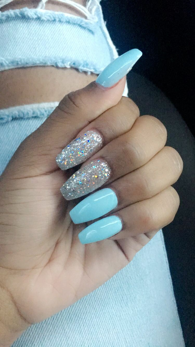Blue Coffin Nails With Glitter Blue Glitter Nails Blue Coffin Nails Baby Blue Nails