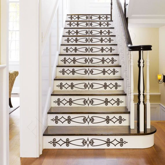 Carved Wood Stair Risers Stair Ideas Stamped Leather: Vinyl Stair Decals For Staircase Riser Decor By