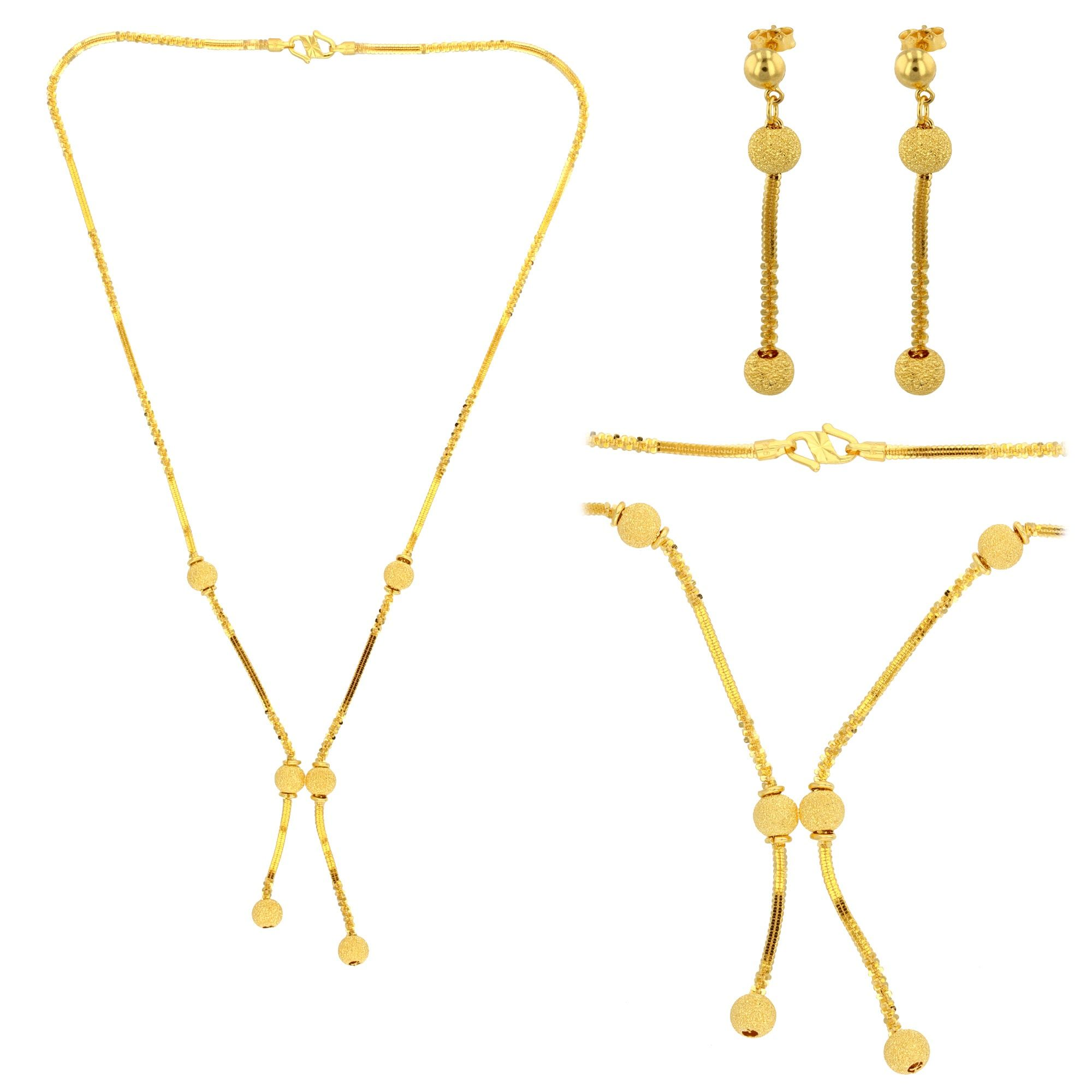 Fancy Ball Gold Necklace and Earrings Set #Beautiful #Simple ...
