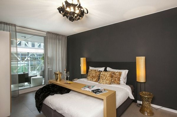 High Quality Golden Accents In The Bedroom Dark Gray Wall White Ceiling