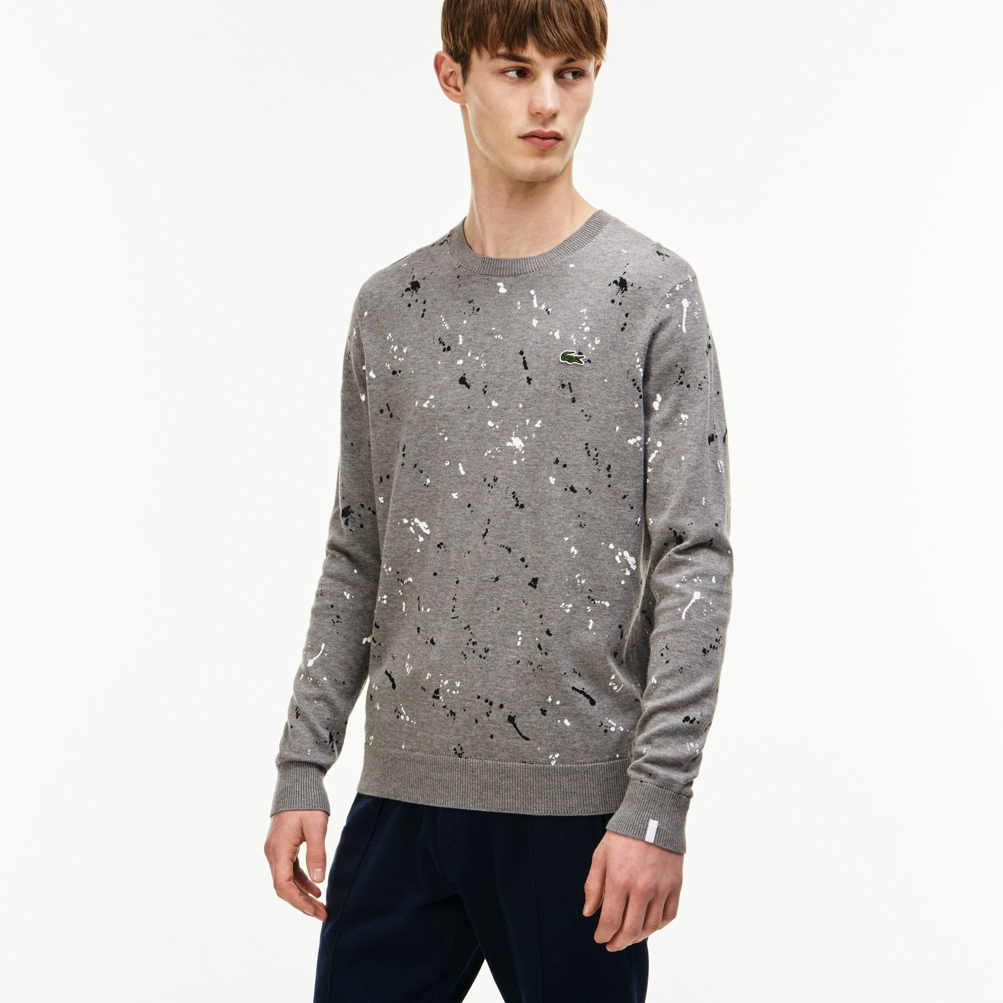 615500bd42 LACOSTE Men's Lacoste LIVE Crew Neck Speckled Print Jersey Sweater ...