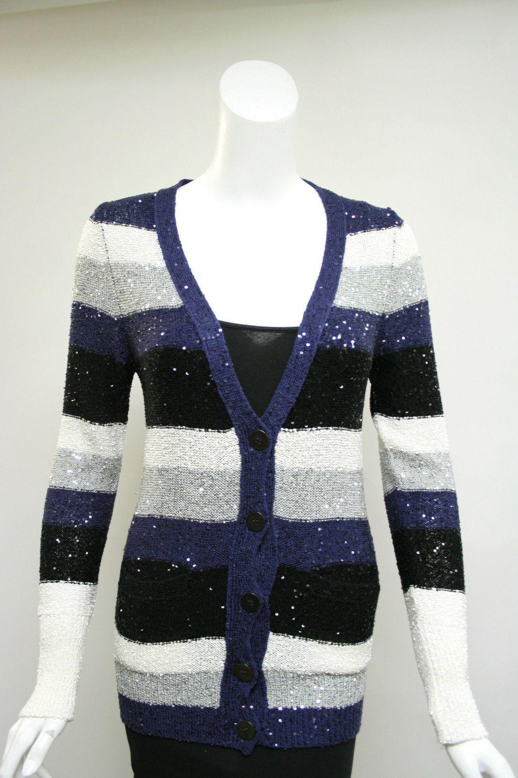 OSCAR DE LA RENTA Black/Blue/Silver/White Sequined Silk-Blend Knit ...