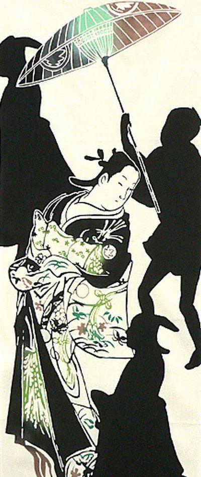 japanese tenugui cotton towel fabric geisha girl mens silhouette traditional design high quality tenugui fabrics made of soft 100 cotton clot イラスト 絵 切り絵