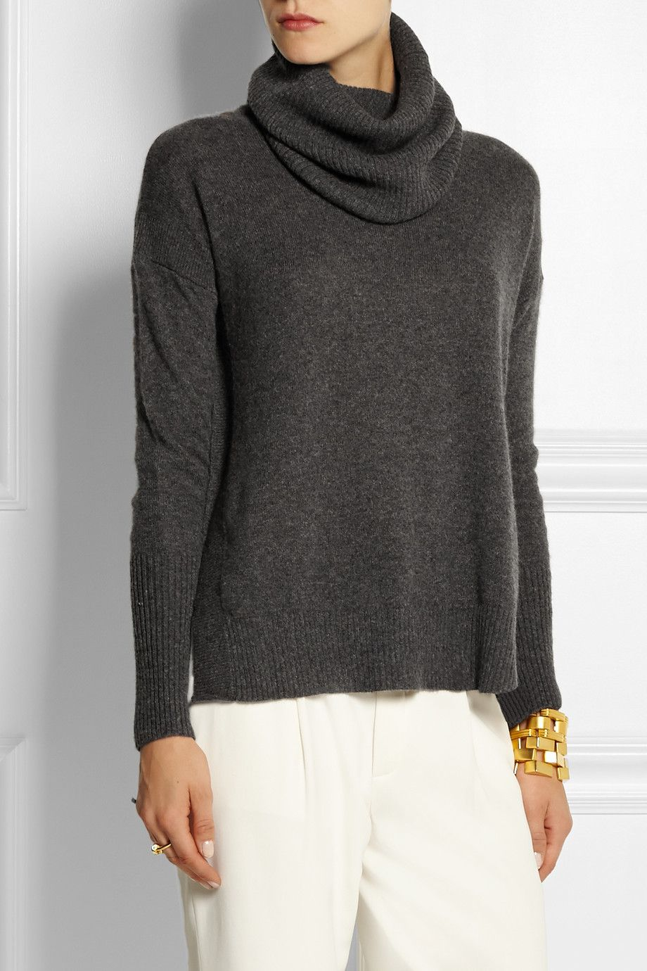 Charcoal Ahiga Slim cashmere turtleneck sweater | Diane von