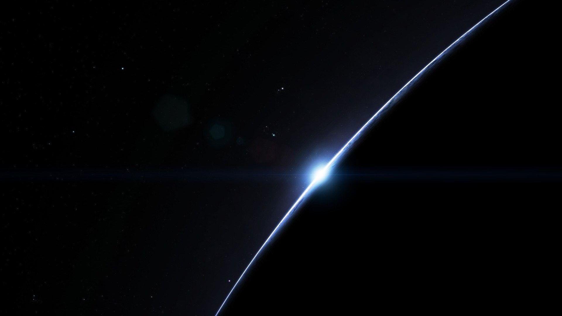 Download Planet Space Dark Sunrise Simple Stars Green Nature Wallpaper Hd For Desktop Free Download
