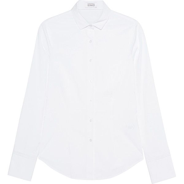 STEFFEN SCHRAUT Stand Up Collar White // Cotton blend blouse (£86) ❤ liked on Polyvore featuring tops, blouses, white shirt blouse, curved hem shirt, slim fit white shirt, stand collar shirt and white blouse
