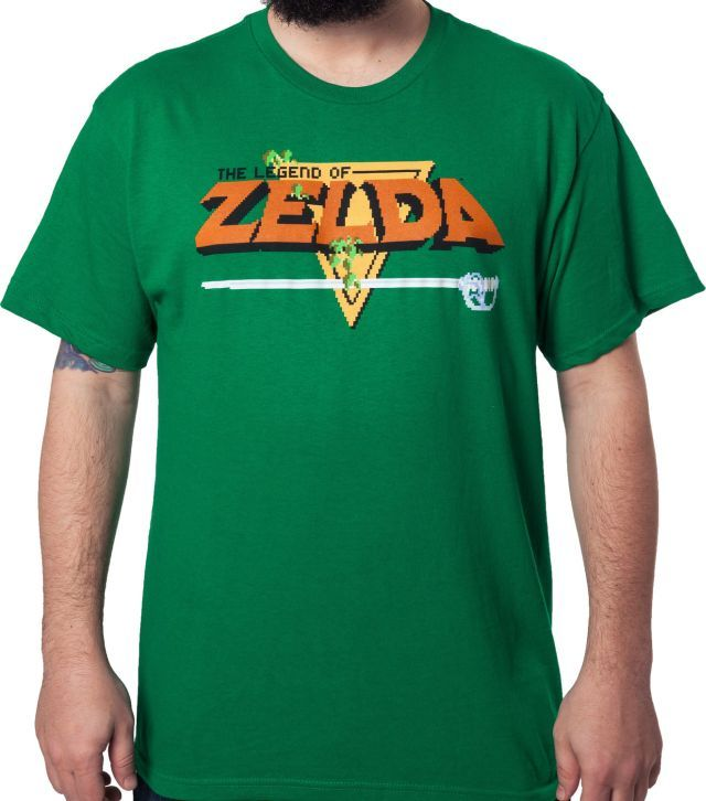 This Legend of Zelda t-shirt features the image seen on the title screen of the first game in the series, released in 1986.