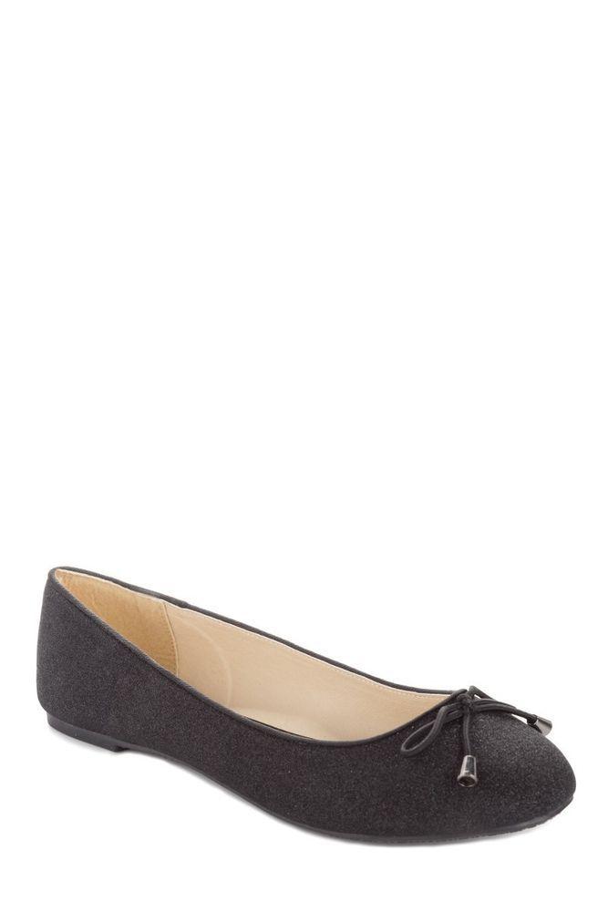 Womens Ladies Flat Pumps Girls Glitter Ballet Ballerina Dolly Bridal Pumps Shoes