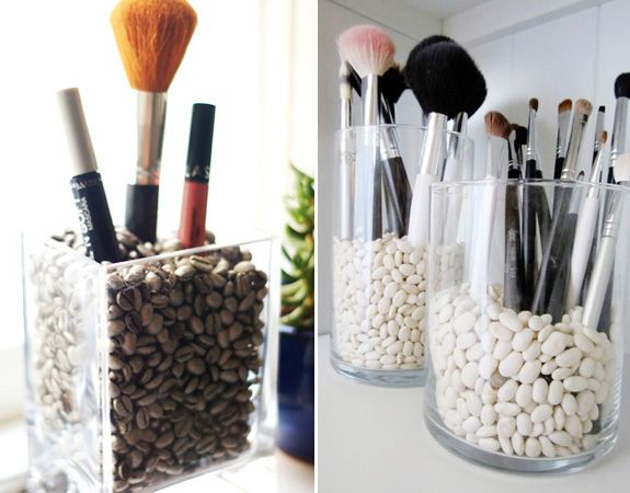 DIY makeup holder with dried beans