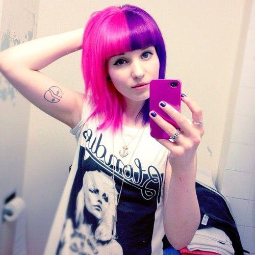 Ameliabutter Chelsamander Bathroom Mirror Self Portraits Guys Half Half Hair Is My Favorite H Pink Purple Hair Split Hair Short Hair With Bangs