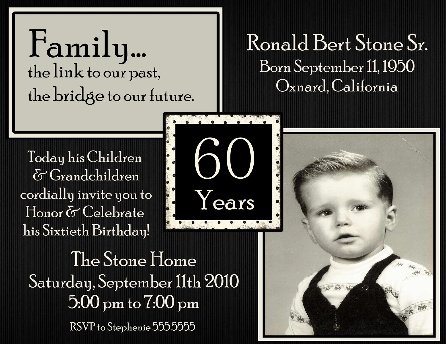 60th Picture Birthday Digital Invitation by Stonelovedesigns ...