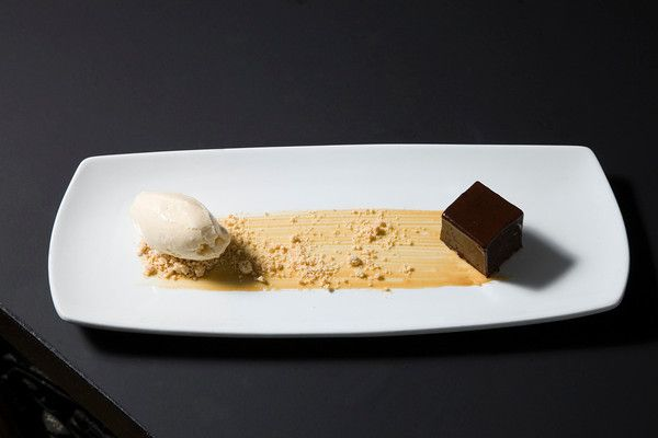 A desert aficionado's heaven! Chocolate pave, peanut powder and salted caramel ice cream...just delicious.