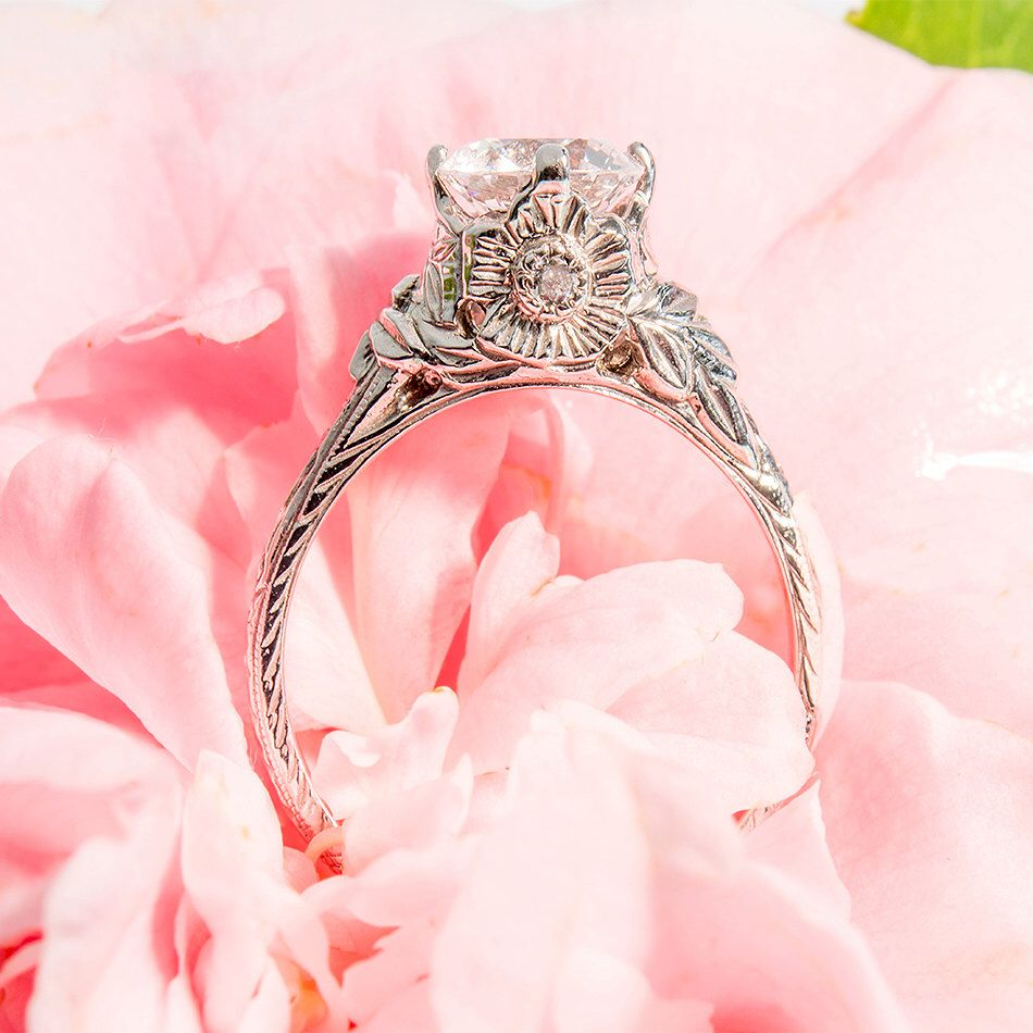 Unique vintage style engagement ring k white gold with diamonds