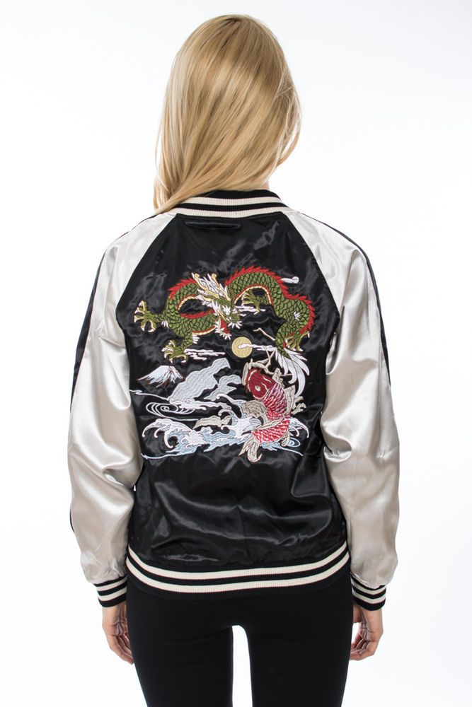 b965e3df92 Dragon Embroidered Striped Satin Bomber Wrangler Jacket In Black ...
