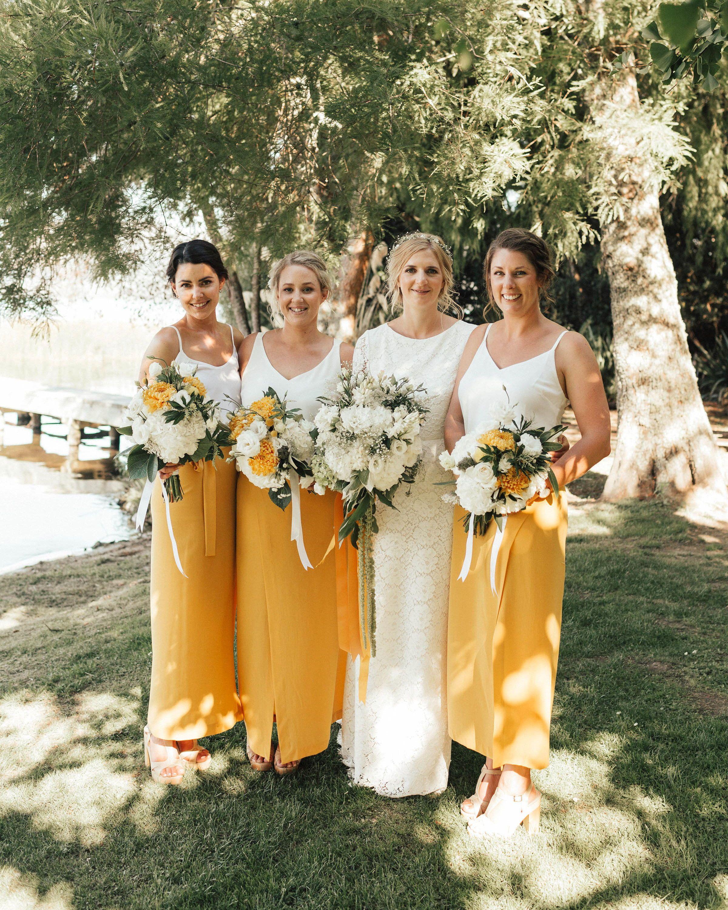 Trending Now Two Piece Bridesmaids Looks Yellow Bridesmaids Yellow Bridesmaid Dresses White Bridesmaid Dresses