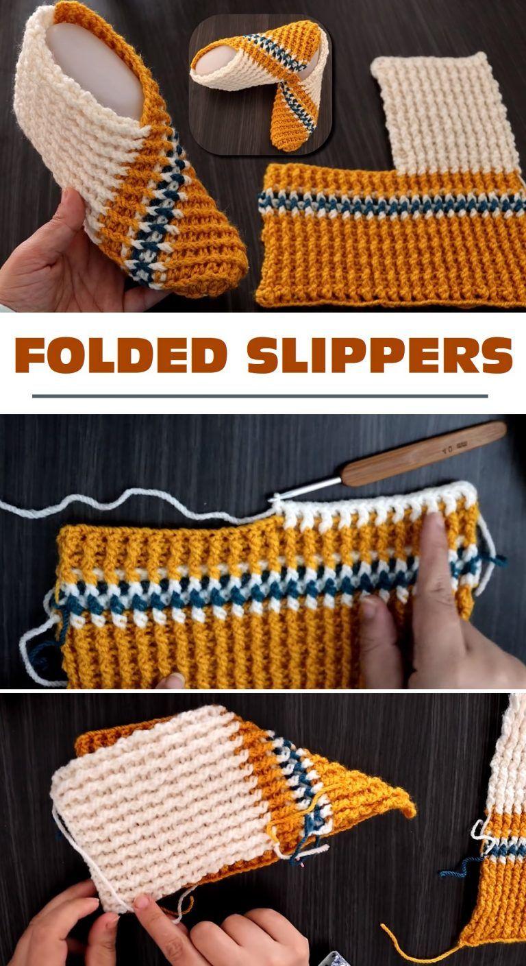 Super Easy Single Fold Crochet Slippers – Design Peak