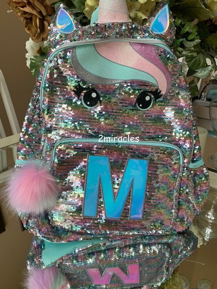 "Nwt Justice Pastel Unicorn  Initial ""M""Backpack Regular Size /& Lunch Tote"
