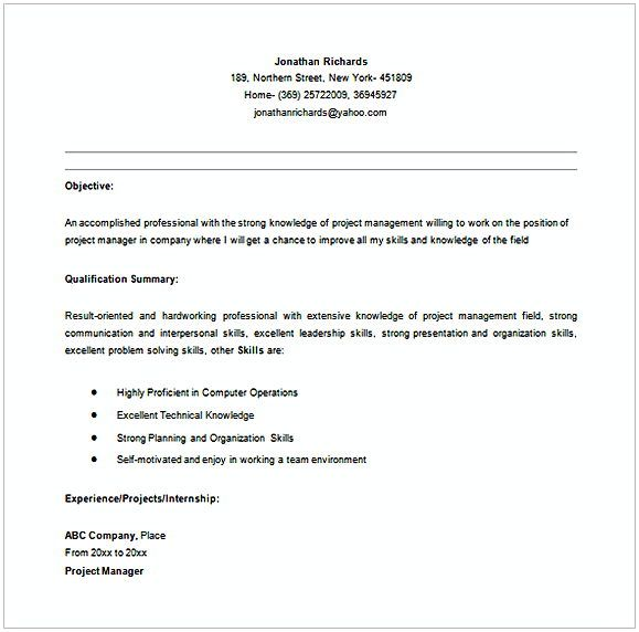 Entry Level entry level project Manager Resume in MS Word , Entry ...