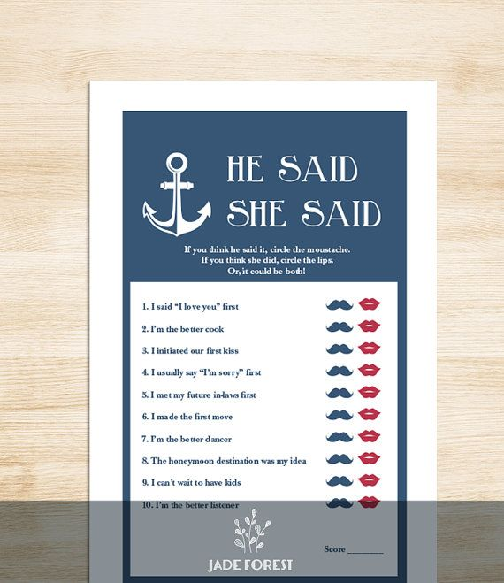 nautical bridal shower game diy nautical game navy anchor he said she said printable pdf wedding shower game instant download