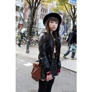 Japanese Girl in Leather Bomber Jacket Lace Skirt