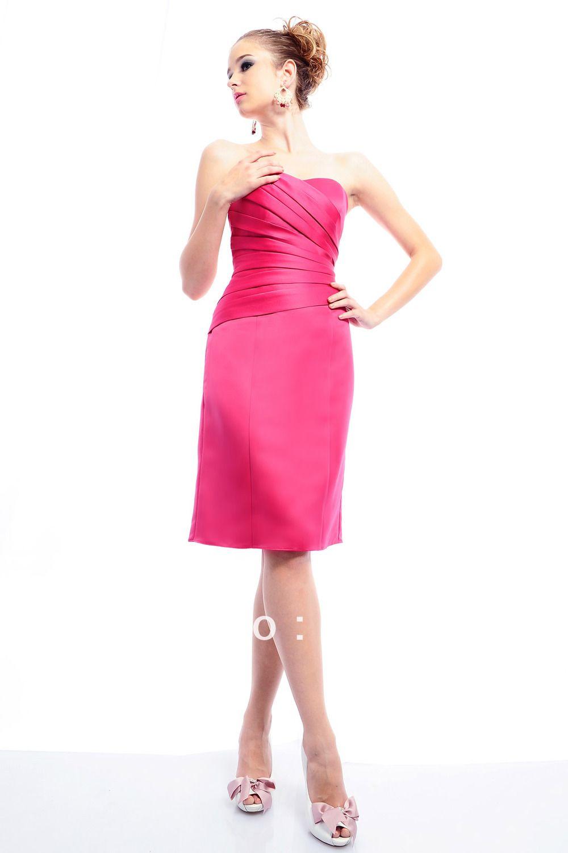 87d600315f vestidos de fiesta cortos en rosa fiusha 2014 customed 2013 nueva moda de la