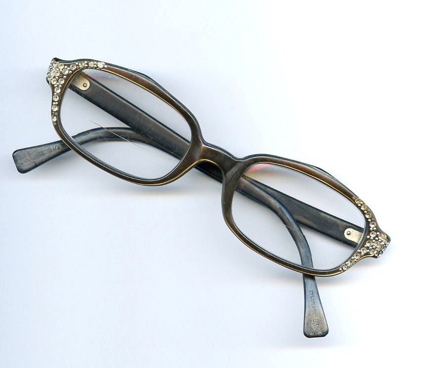 Vtg Zyloware 5 1 4 Womans Copper Brown Moonglow Plastic RS Cat Eye Glasses