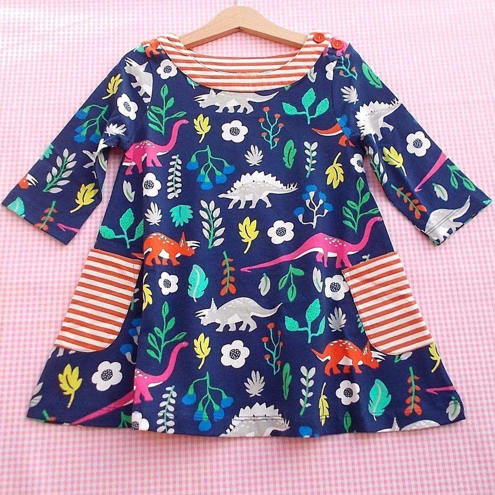 Girls Mini Boden 3//4 Sleeve Applique Dress