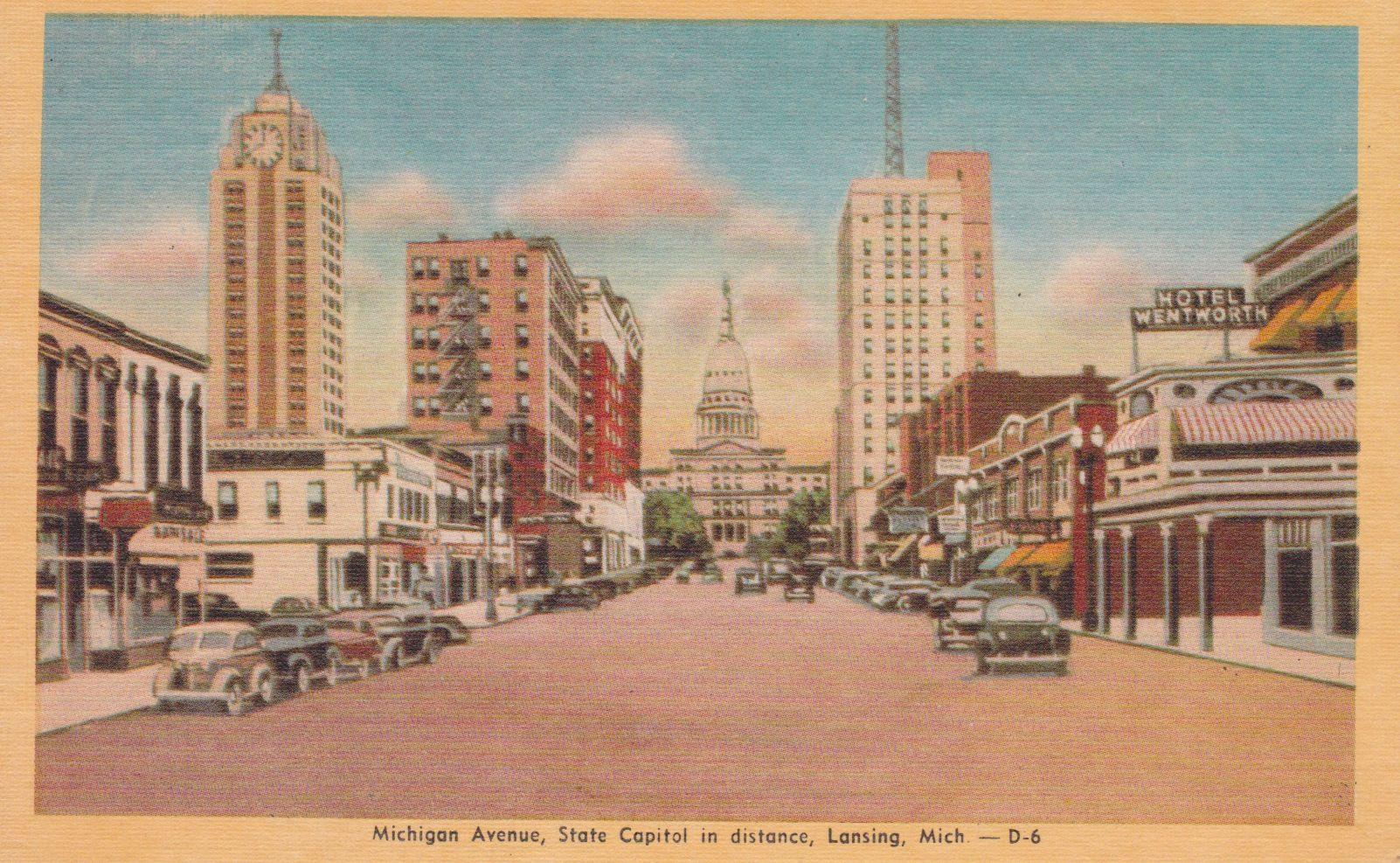 Michigan Skyline Vintage Postcard Lansing