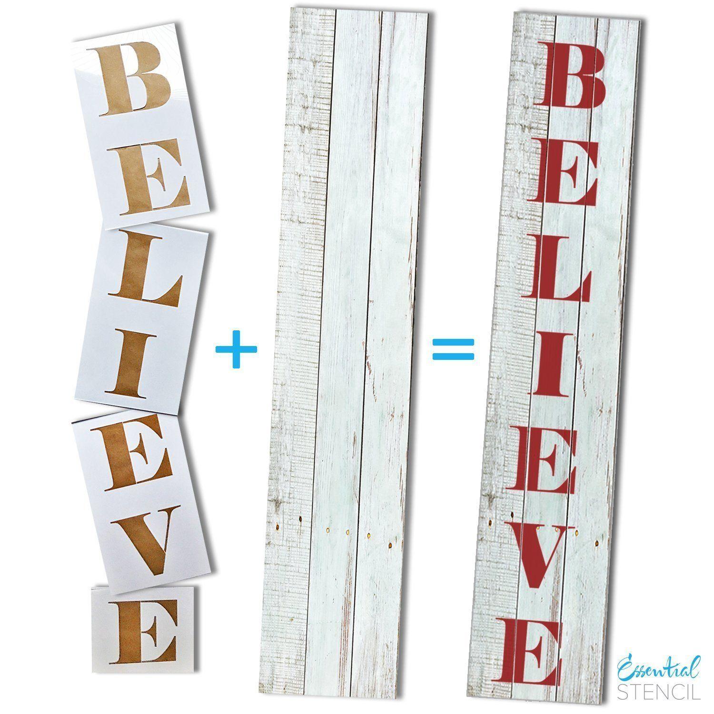 Vertical Believe Stencil Christmas stencils, Porch signs