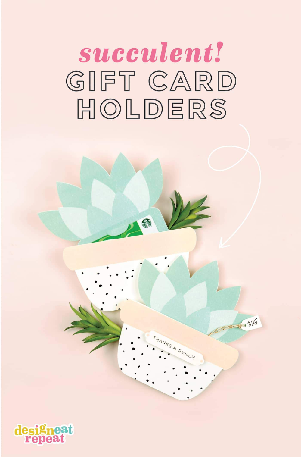 Cute Succulent Printable Gift Card Holder Design Eat Repeat In 2020 Gift Card Holder Template Gift Card Template Gift Card Design