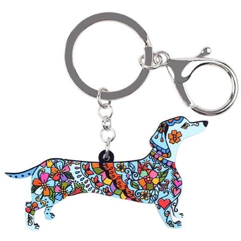 4e4bc93d175 Acrylic Paint Dog Unique Key Chain Outfit Accessories. Bonsny Acrylic  Statement Dog Jewelry Dachshund Chain Key Ring Pom Gift For Women Girl Bag  Charm ...