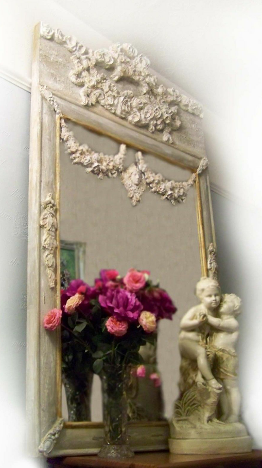 My Antique French Trumeau mirror, with my Antique French sculpture , hope you enjoy my work. From Ciel de lit.