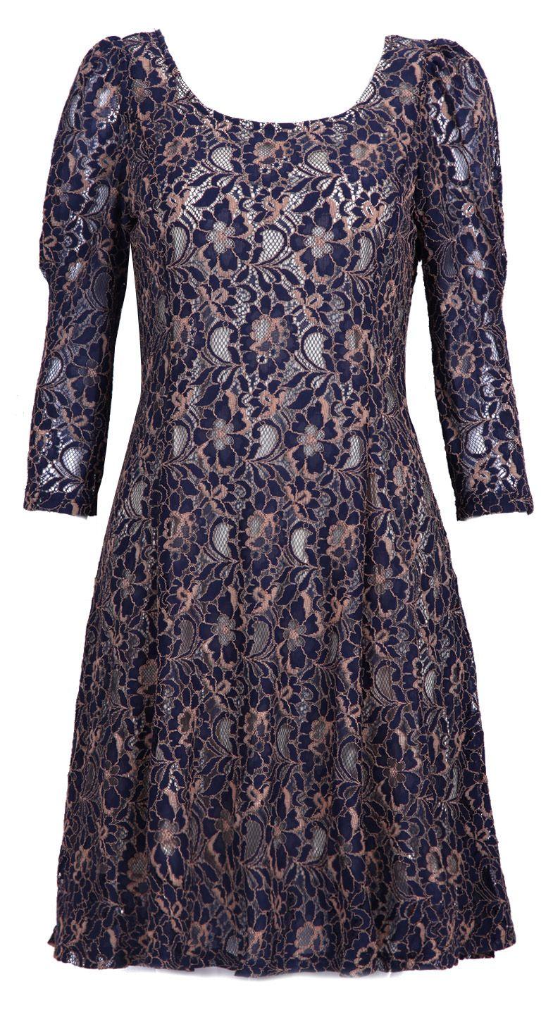Lace dress navy  Navy Long Sleeve Embroidery Lace Dress  Sheinside  Dress