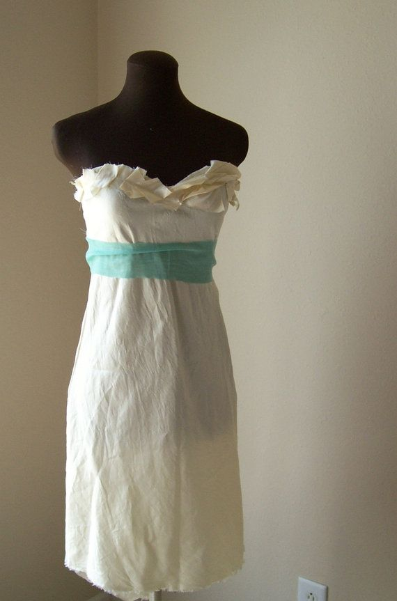 Simple Wedding Gown Ivory Silk Strapless Short Cream Lace Bohemian Tattered Shabby Chic Ivory Beach Destination Simple Wedding Dress