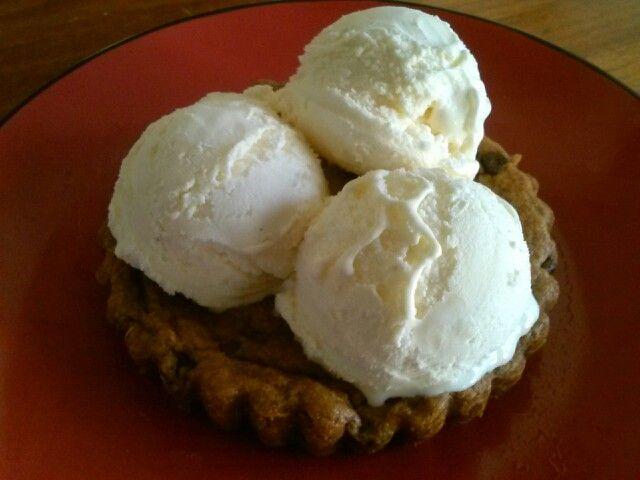 Chocolate Chip Cookie Tart with Vanilla Bean Ice Cream