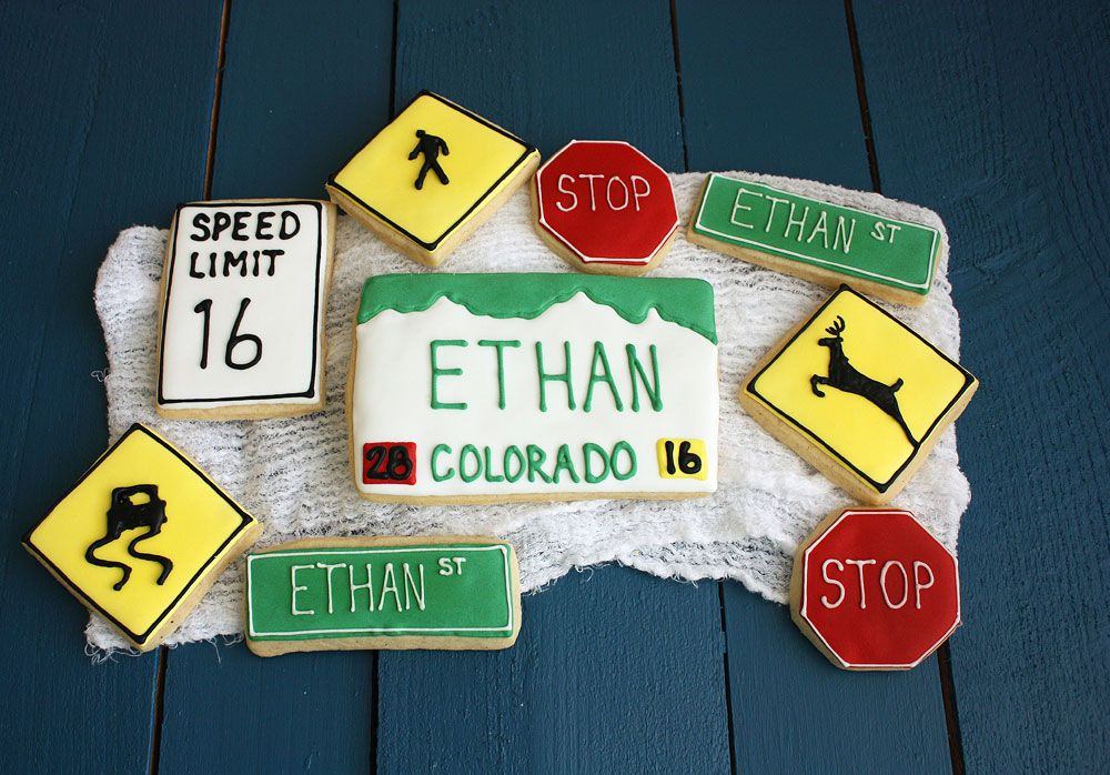 Road Cookies License Plate Cookie And Road Signs For New Driver S Birthday In 2019 Boys 16th