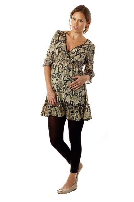 7549addb4518a Seraphine Ciara Snake Print Ruffle Maternity Tunic Dress | Maternity Clothes  www.duematernity.com