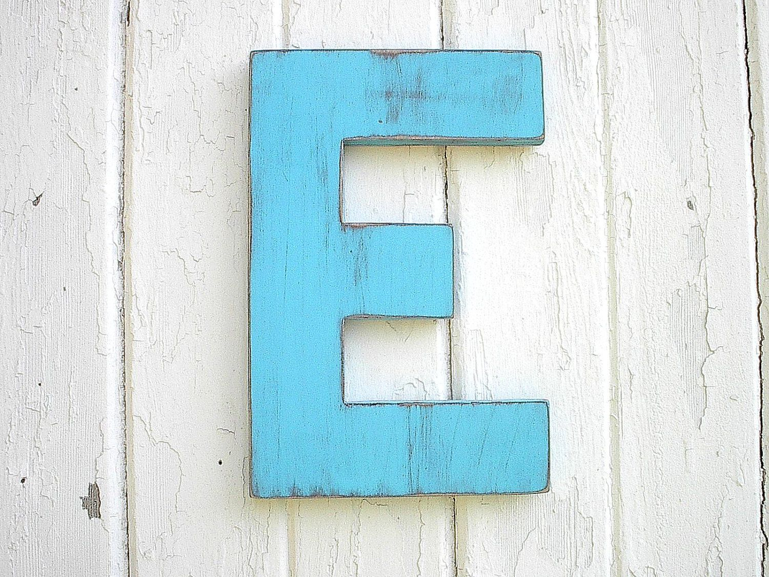 Shabby Chic Wooden Blue Letter E Wall Decor Rustic Cabin Cottage