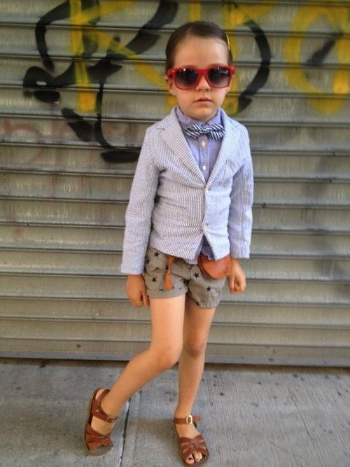 kiddinaround:    Saturday Swag  Thank Planet Awesome Kid for the cutest kid street style photos. This little girl's wearing:  Blazer - Egg by Susan Lazar, Shirt - Ralph Lauren, Shorts/Belt/Purse/Bow Tie - Crew Cuts, and Shoes - Salt Water!