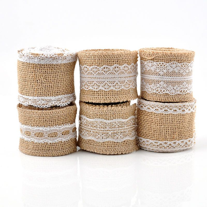 2m 5cm Natural Jute Burlap Hessian Ribbon With Lace Trims Tape Rustic Wedding Decor Cake Topper Decoration Mariag Vintage Burlap Retro Rustic Decor Burlap Lace