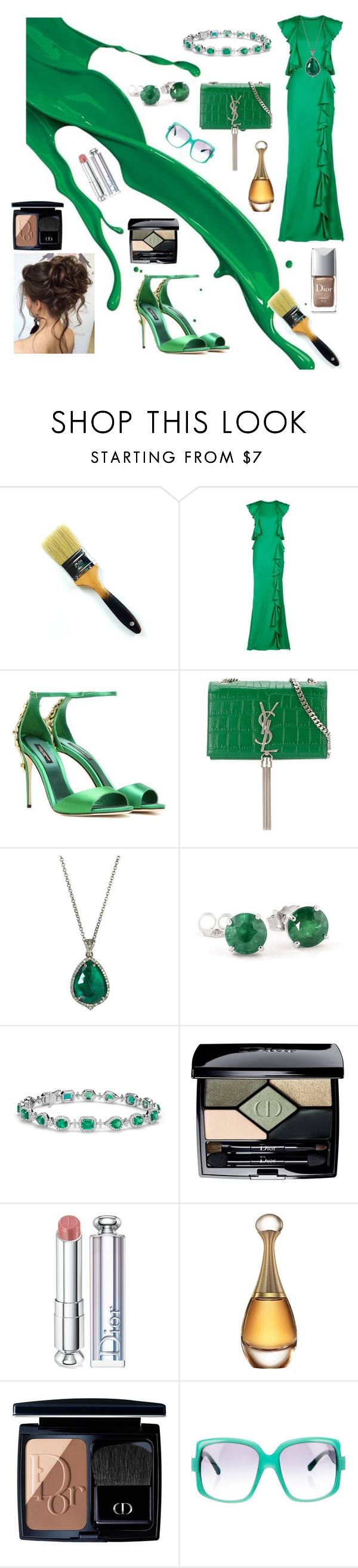"""Dash of green"" by yvette-colon ❤ liked on Polyvore featuring Alexander McQueen, Dolce&Gabbana, Yves Saint Laurent, Bavna, Blue Nile and Christian Dior"