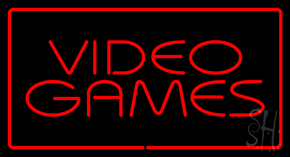 Video Games Rectangle Red Neon Sign Neon Signs Neon Video Games