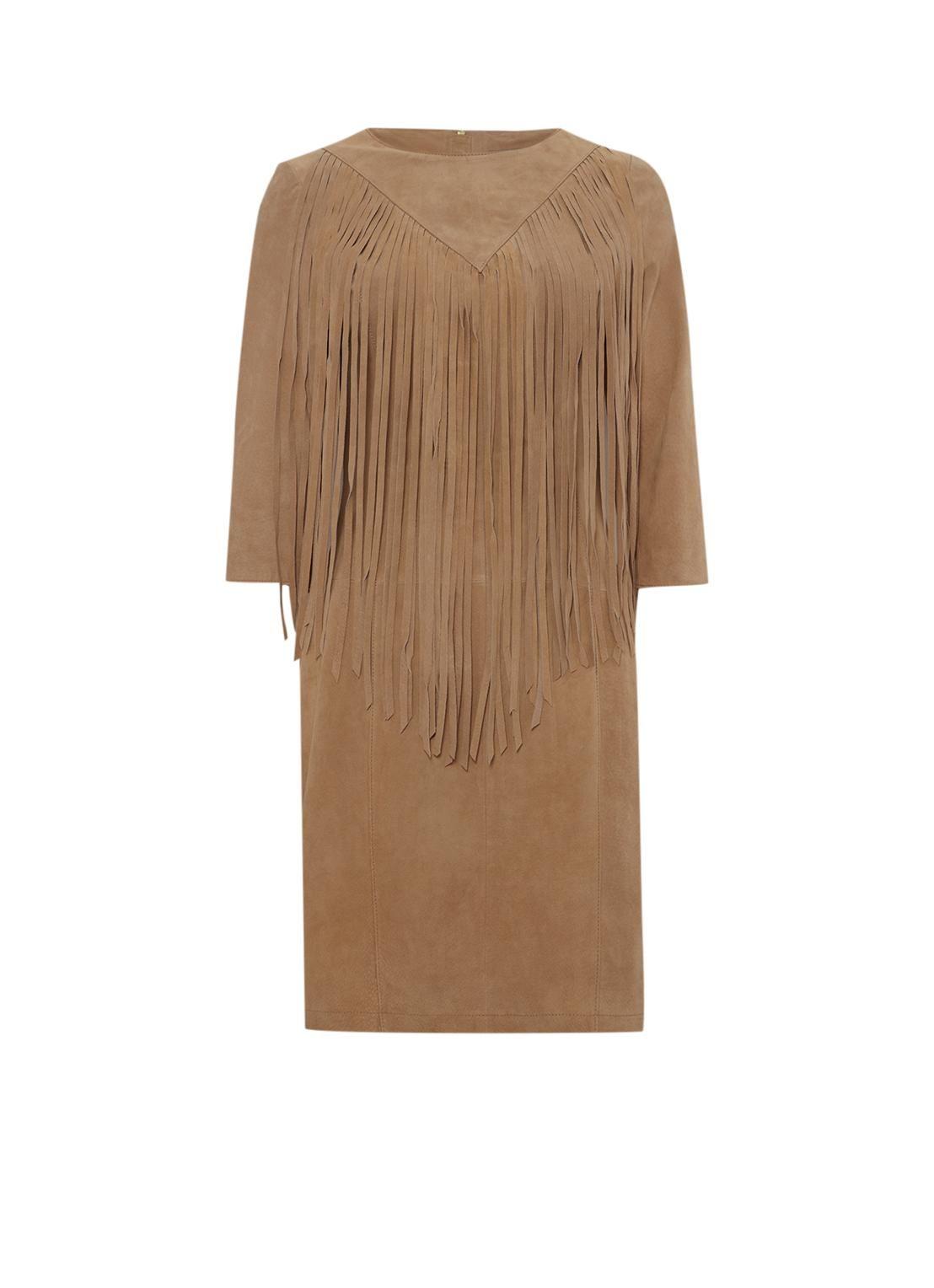 Suede jurk met franjes