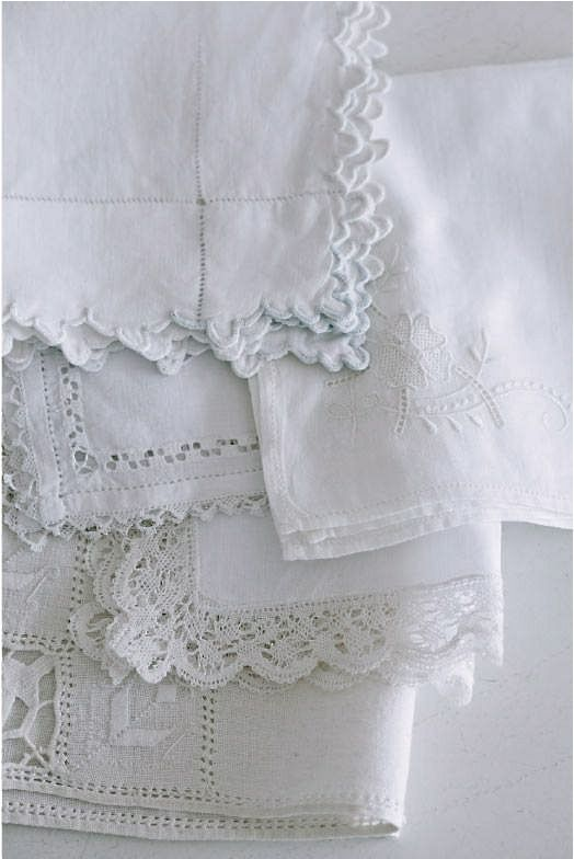 Collection Of White Antique Linens For Christmas A Few Years