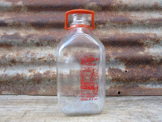Vintage Glass Milk Bottle Dairy 1 2 Gallon Fluid Jar Rolling Acres Jerome Pa Farm Applied Red Label Pa Pennsylvania Bottle Glass Milk Bottles Bottles And Jars
