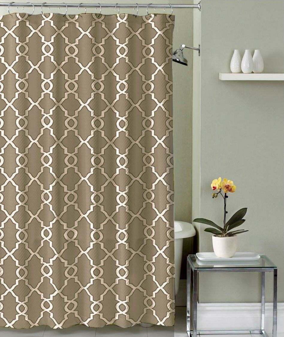 Crest Home Bathroom Shower Curtain Polyester Fabric, Jenny Taupe Trellis  Design   DISCONTINUED   No Longer Available