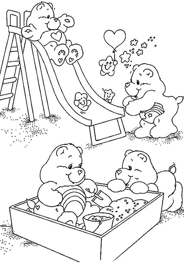 carebears playing coloring pages for free - Free Coloring Pages Bears