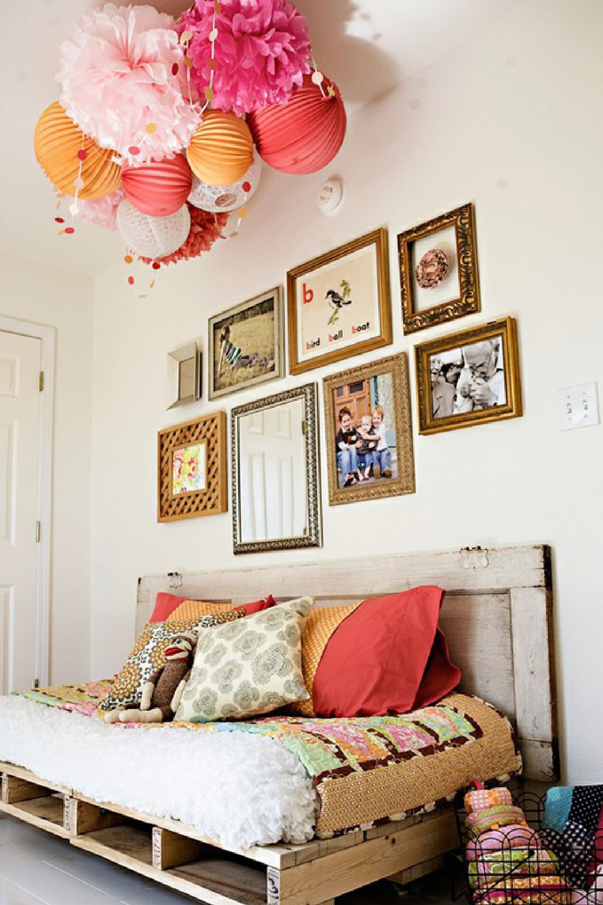 I like the idea old frames and those lanterns and the fluffy balls ...