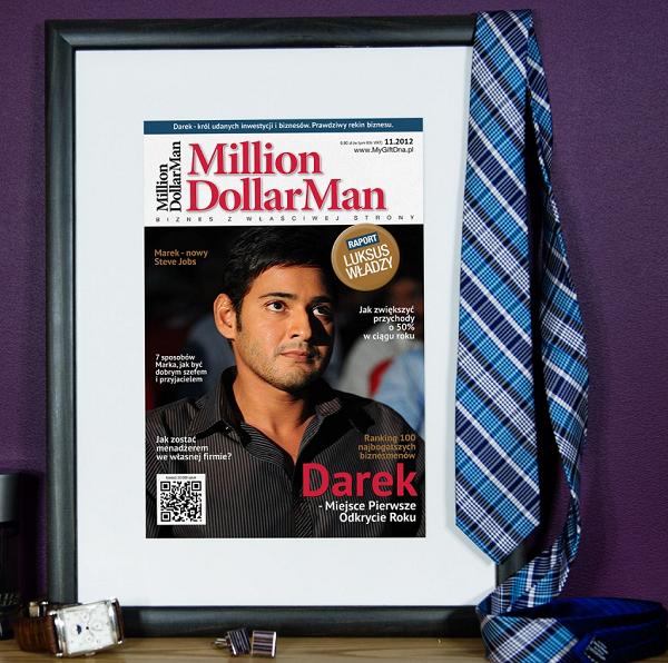 Spersonalizowana okładka czasopisma Million Dollar Man to świetny pomysł na prezent dla prawdziwego rekina biznesu.