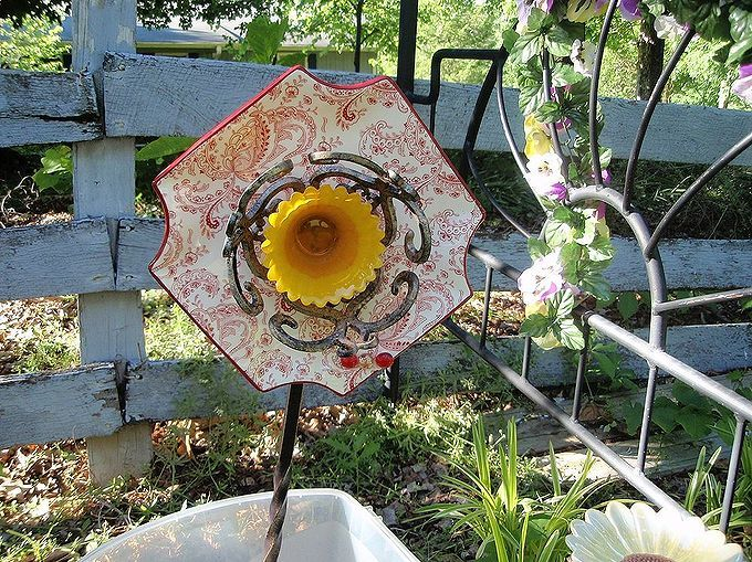 Recycled Glassware and Lamps Into Garden Totems and Bird Baths